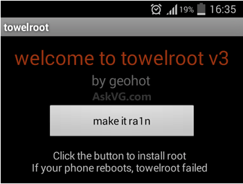 Root android mobile from Towel Root