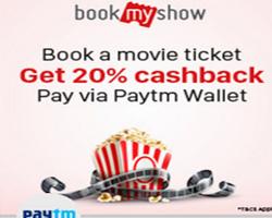 Bookmyshow 20 % off pay via paytm