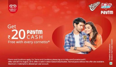 Paytm Cornetto Offer – Buy and Get Rs. 20 Free Paytm Cash