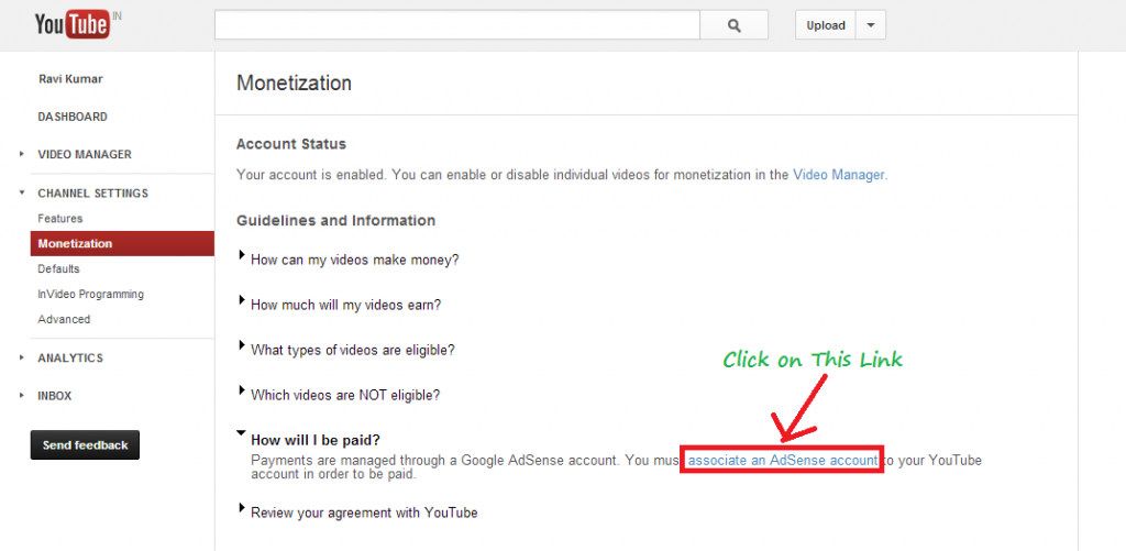 How to associate adsense account on youtube