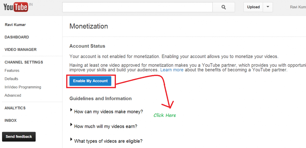 how to enable youtube monetization