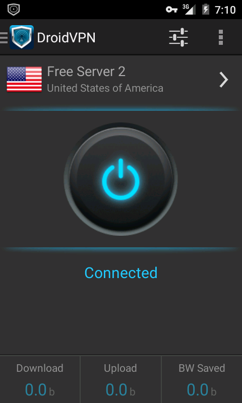 Droidvpn app image after connecting