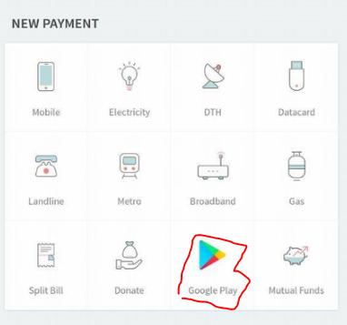 google play gift card option at freecharge