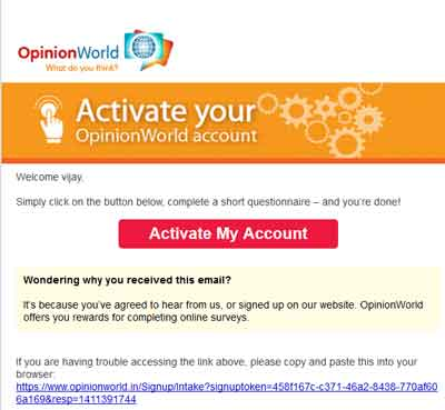 opinion world survey account activation