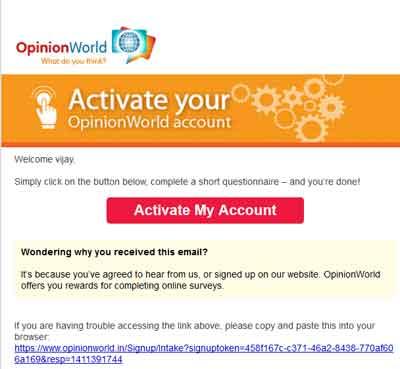 opinion world survey account activation