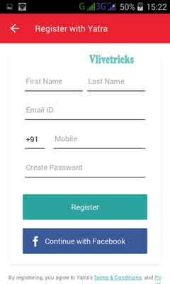 yatra app sign up form