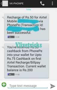 Phonepe airtel cashback proof