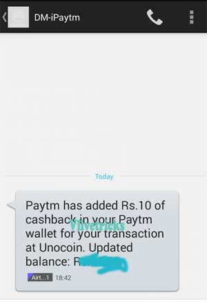 unocoin paytm sign up bonus proof