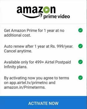 airtel tv app amazon prime offer