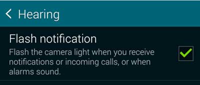 How to activate Camera Flash on Call in Samsung Mobile