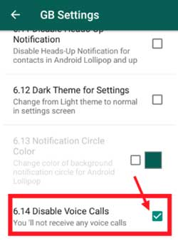 how to disable calls on gbwhatsapp