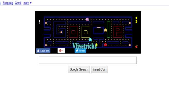 google pacman game page trick
