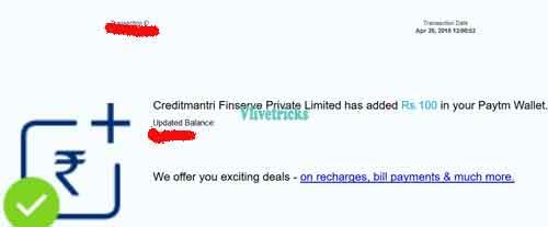 creditmantri-proof of paytm cash