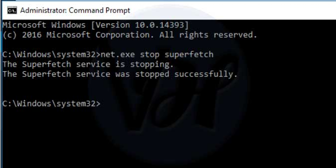 cmd superfetch-stop-command