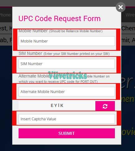 reliance upc code form