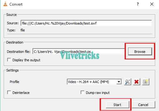 vlc file converted-destination