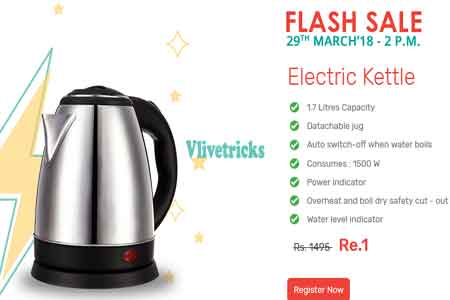 Zotezo Electric Kettel Rs. 1 Flash Sale