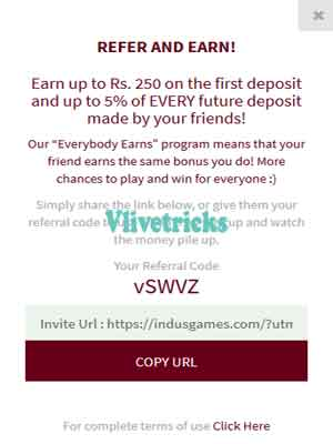 indus-games-refer and earn