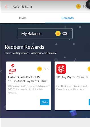 wynk music app redeem rewards