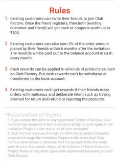 club factory terms and conditions