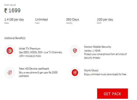 airtel unlimited 1699 plan