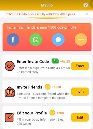 enter invite code and other tasks