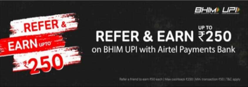 upi refer and earn banner in airtel app