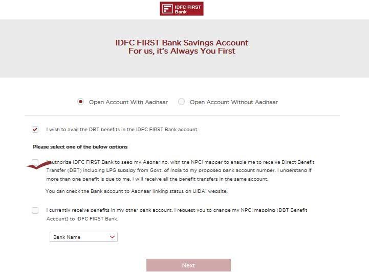savings account open online