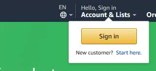 amazon sign in on homepage