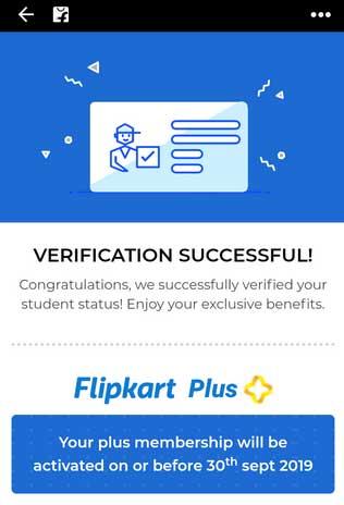flipkart plus student verification successful