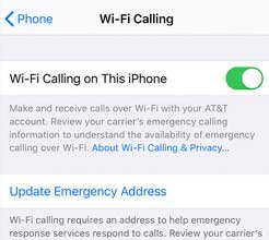 wifi calling iphone enable button