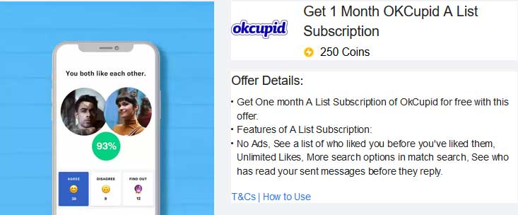 okcupid subscription flipka