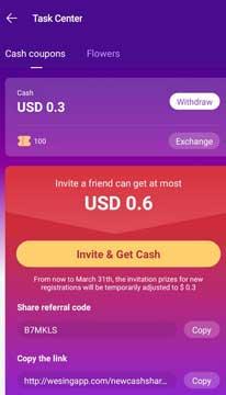wesing app referral  code