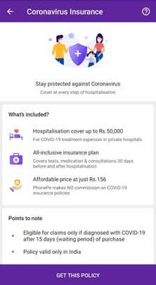 phonepe coronavirus Insurance