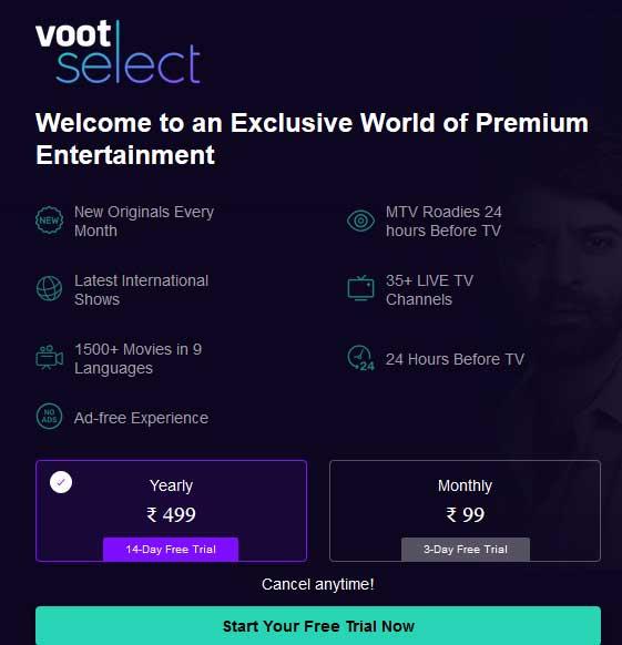 voot select premium free trial