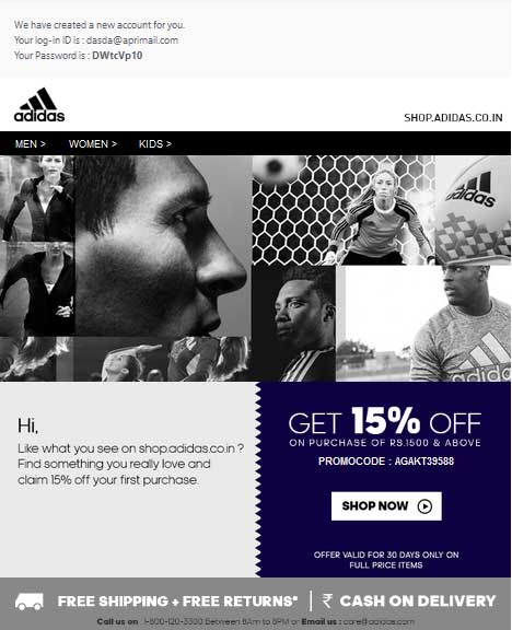 adidas new user promo code on email