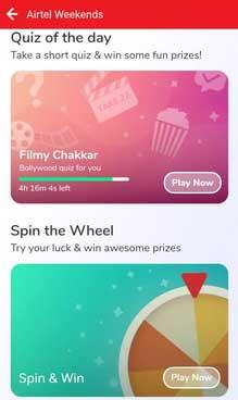 airtel quiz an spin the wheel