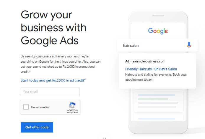 google ads free credits email form