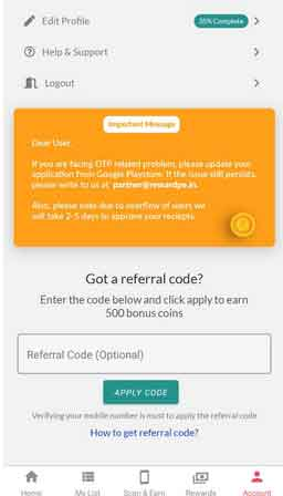 enter referral code of rewardpe app