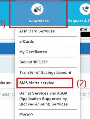 sms-alerts-service option menu