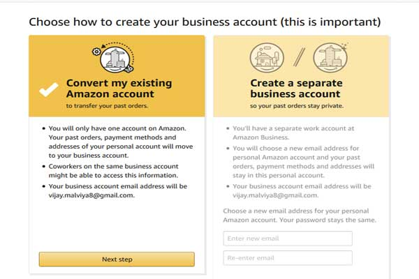 convert amazon account to bussiness