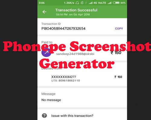 screenshot generator of phonepe successful transaction