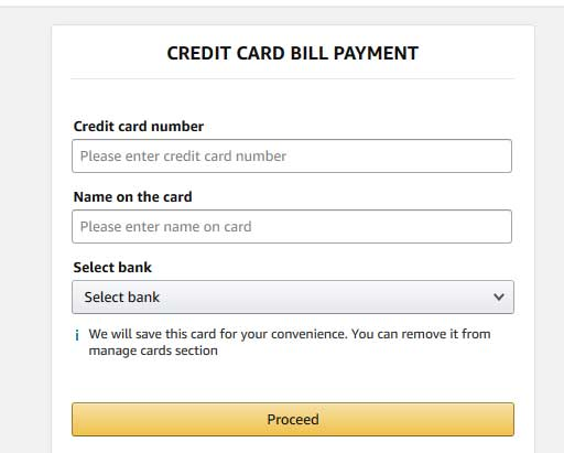 pay credit card bill payment on amazon