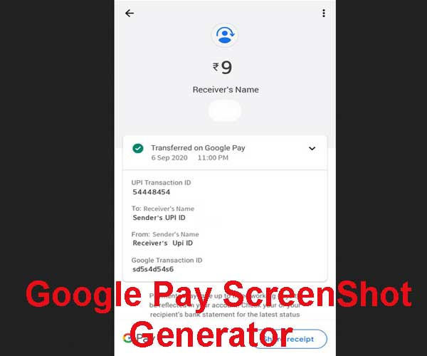 screenshot generator of google pay successful transaction