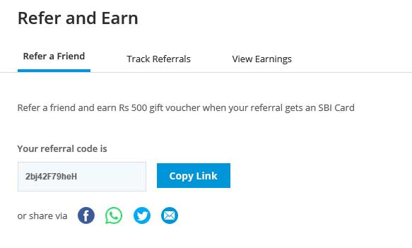sbi card refer and earn