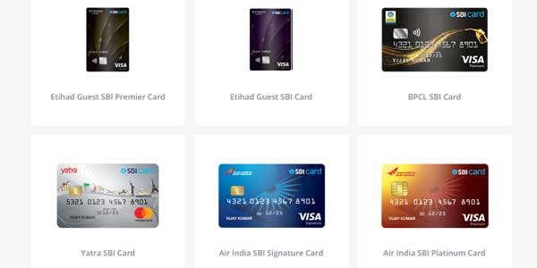 types of sbi credit cards