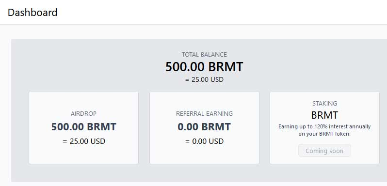credited free brmt coins