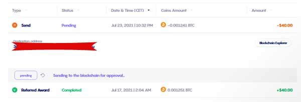 Celsius network Referral bonus Proof